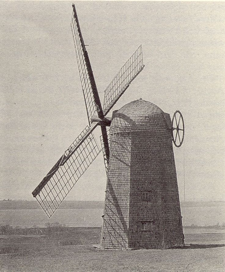 The old windmill on Lehigh Hill in the 1920s (now located at Prescott Farm in Portsmouth, RI)