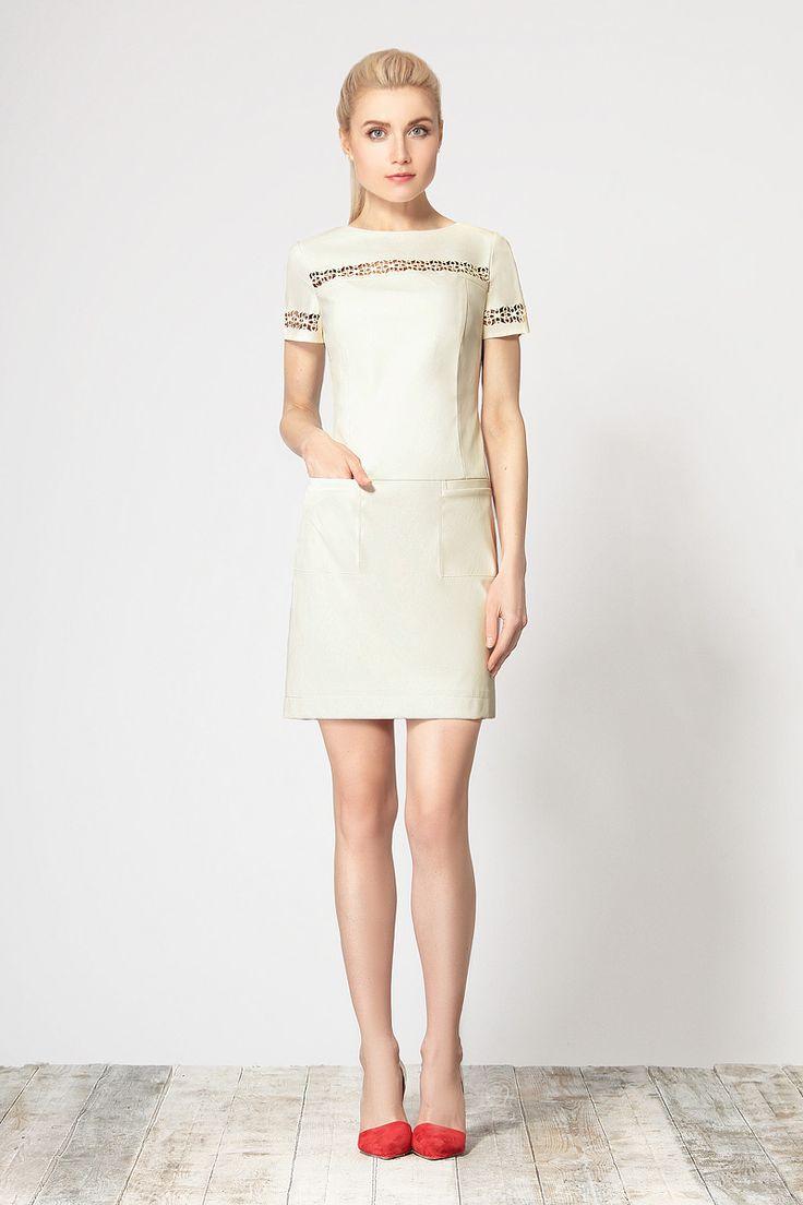Стильное платье, выполненное из эко-кожи от Devita.