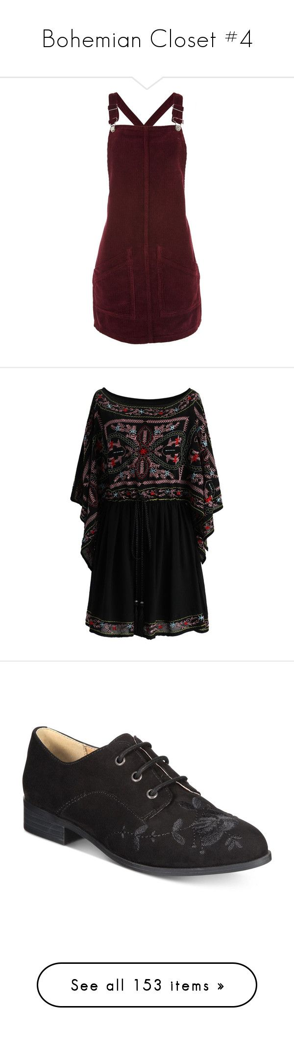 """Bohemian Closet #4"" by heisenberg44 ❤ liked on Polyvore featuring dresses, burgundy, red dress, petite red dress, cord dress, cord pinafore dress, burgundy pinafore dress, boho, black and bohemian dresses"