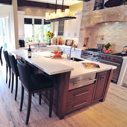 Mediterranean Kitchen Photos - Love the two-level island and warming drawer!  And candles for the pendants?