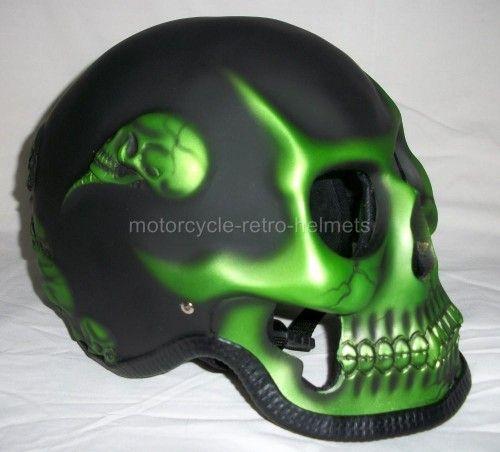 Skull Motorcycle Helmet | Skull Skeleton GHOST RIDER Green Fullface Motorcycle 3D Helmet ...