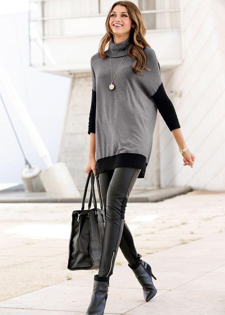 Pulôver de tricô fino cinza mesclado/preto encomendar agora na loja on-line bonprix.de  R$ 139,00 a partir de Muito charmoso e tão lindo que você vai ...