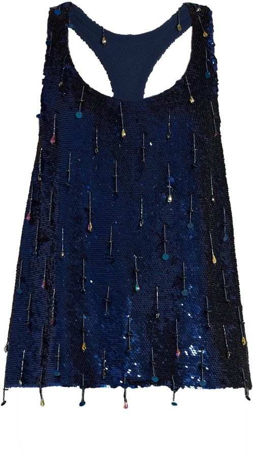 ASHISH Sequin-embellished scoop-neck sleeveless silk top