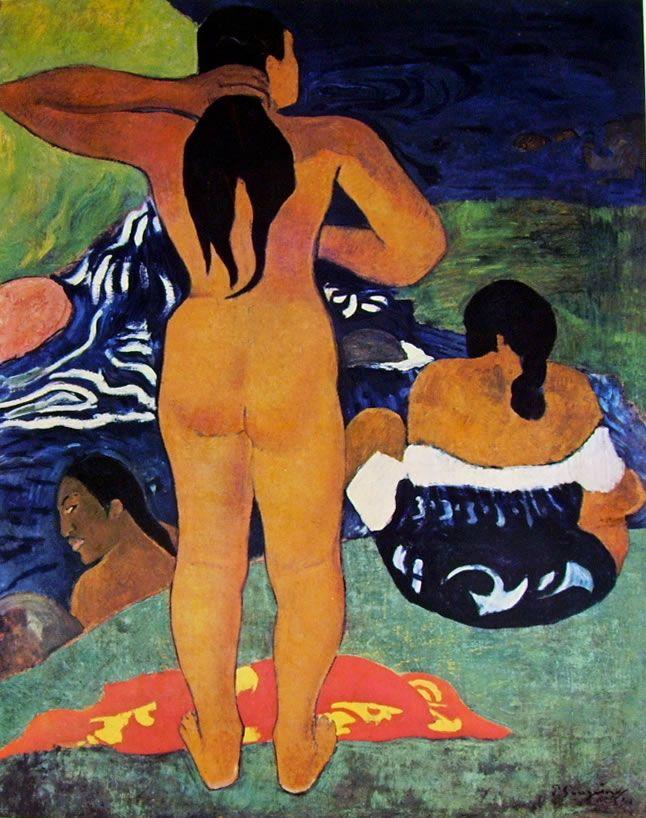 Donne tahitiane sulla spiaggia, olio su tela, New York N.Y. Lehman