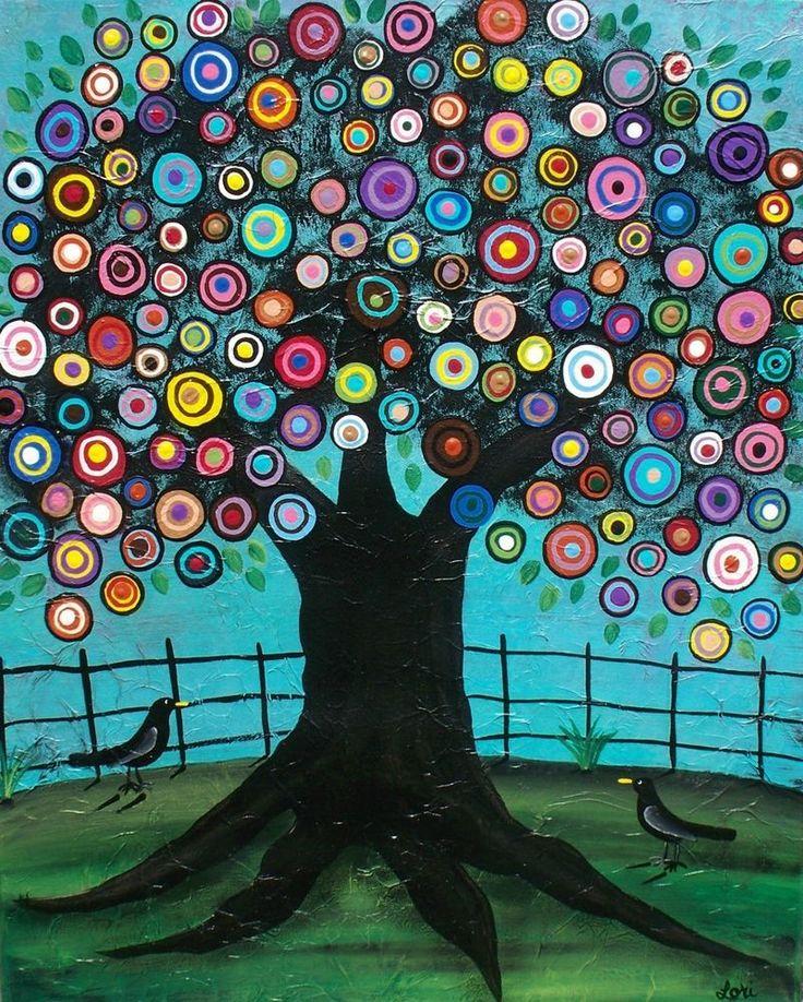 Needlepoint Canvas 14 or 18 count_Imagination_Lori Everett, Tree, Black Birds