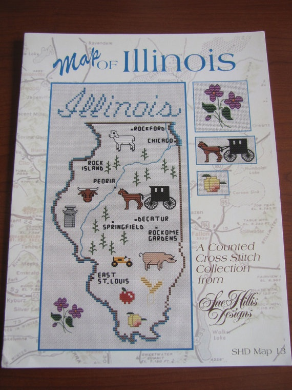 Map of Illinois cross stitch pattern by Sue by BeadingBeeCreations, $4.95