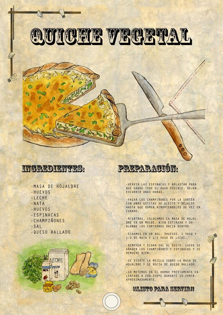 Receta ilustrada Quiche vegetal   RistyArt