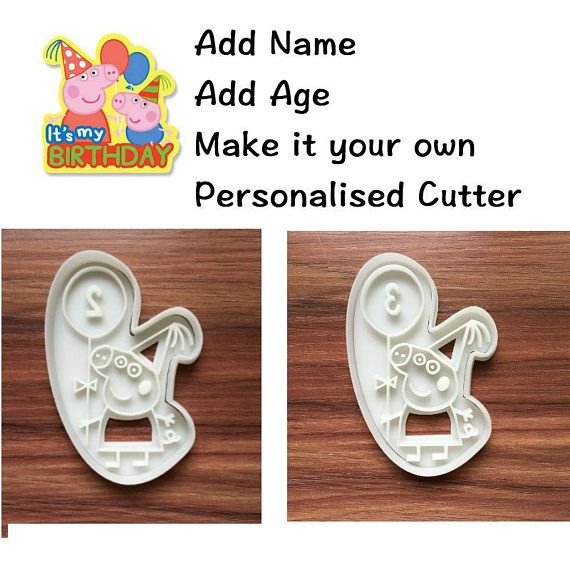 Personalised Peppa Pig Birthday Cookie Cutter Biscuit Mold