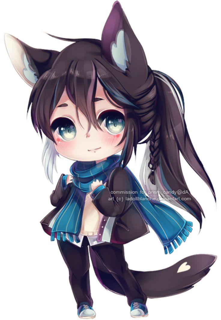 Cute Black Chibi Wolf Girl