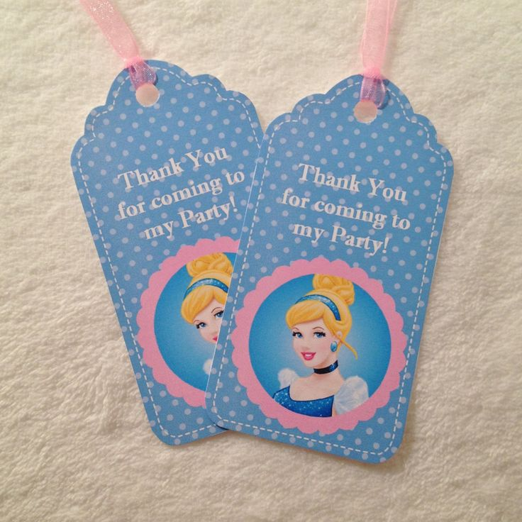 "10 - NEW Cinderella ""Thank You"" Party Favor Gift Tags Birthday Party Favor Blue & Pink Cinderella Party Supplies by MichelleAndCompany on Etsy"