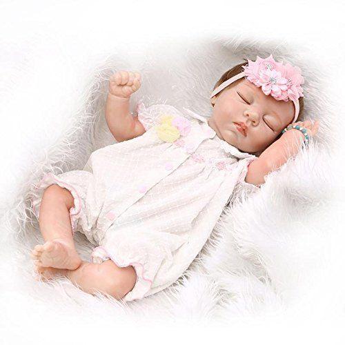 Nicery Reborn Bambino Bambola Morbido Silicone Mezza Vinile 20 Pollici 50 Centimetri Magnetica Bocca Realistica Giocattolo Del Ragazzo Della Ragazza Addormentata Rosa Baby Doll A3IT