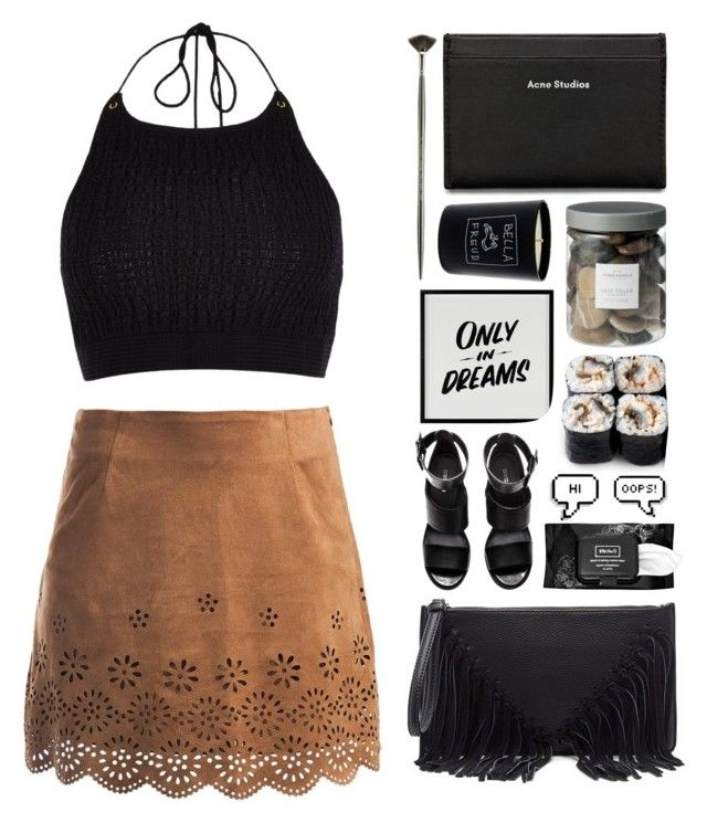 """""""In a city of fools, i was careful and cool"""" by angeline-wonderwall ❤ liked on Polyvore featuring Sans Souci, River Island, H&M, Acne Studios, Sole Society, Bella Freud, Baron Von Fancy, Kat Von D, Threshold and GetTheLook"""