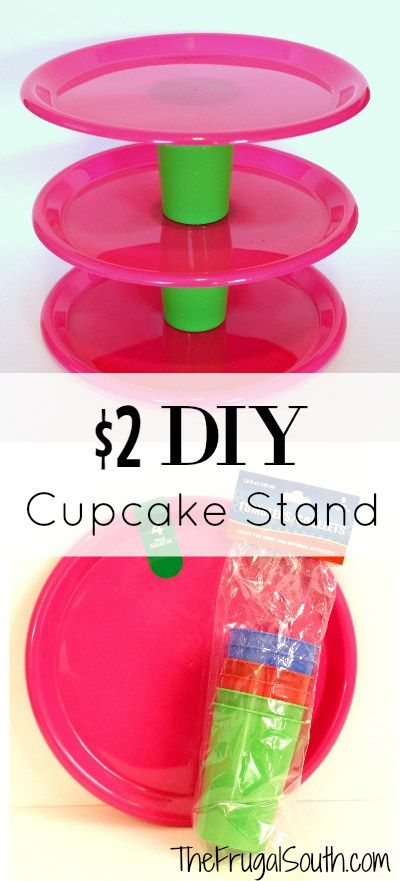 Easy $2 DIY Cupcake Stand - Make this homemade cupcake holder display in less than 5 minutes with items from the Dollar Store!