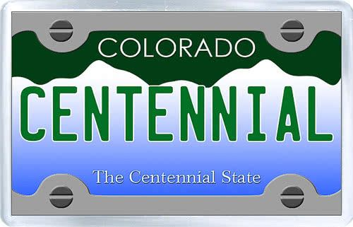 $3.29 - Acrylic Fridge Magnet: United States. License Plate of Centennial Colorado