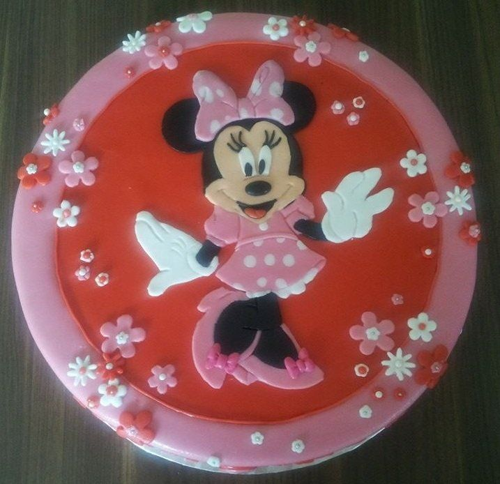 Birthdaycake, Minney Mouse, girl, pink and red, Verjaardagstaart, meisje, roze en rood