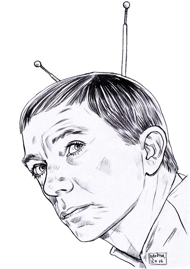 Uncle Martin from My Favorite Martian TV show from the 60's, pencil on paper.