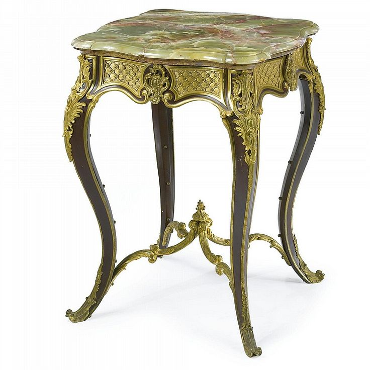 A LOUIS XV STYLE GILT-BRONZE AND PAINTED TÔLE CENTER TABLE CIRCA 1880 surmounted by a green onyx top above a  brèche d'alep  molded edge.  height 30 1/2 in.; width square 22 in. 77.5 cm; 56 cm
