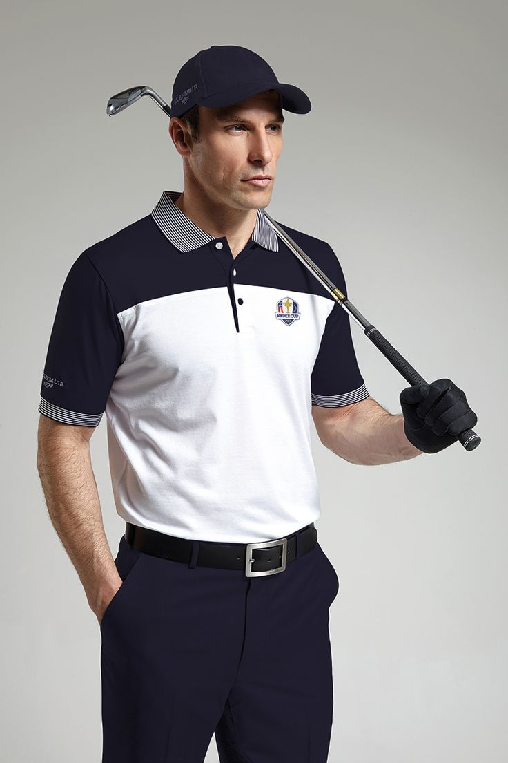 Official Ryder Cup 2016 Mens Colour Block Striped Collar Golf Polo Shirt