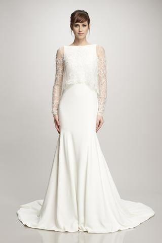 Amber - #890301 - Long sleeve bateau neck illusion tulle topper swirl and scrolls beaded threadwork embroidery