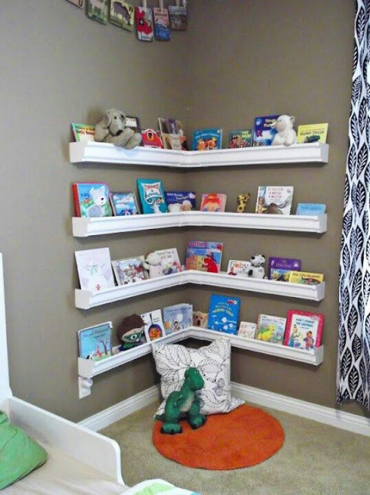 Gutter shelves for kid area where toys are sold
