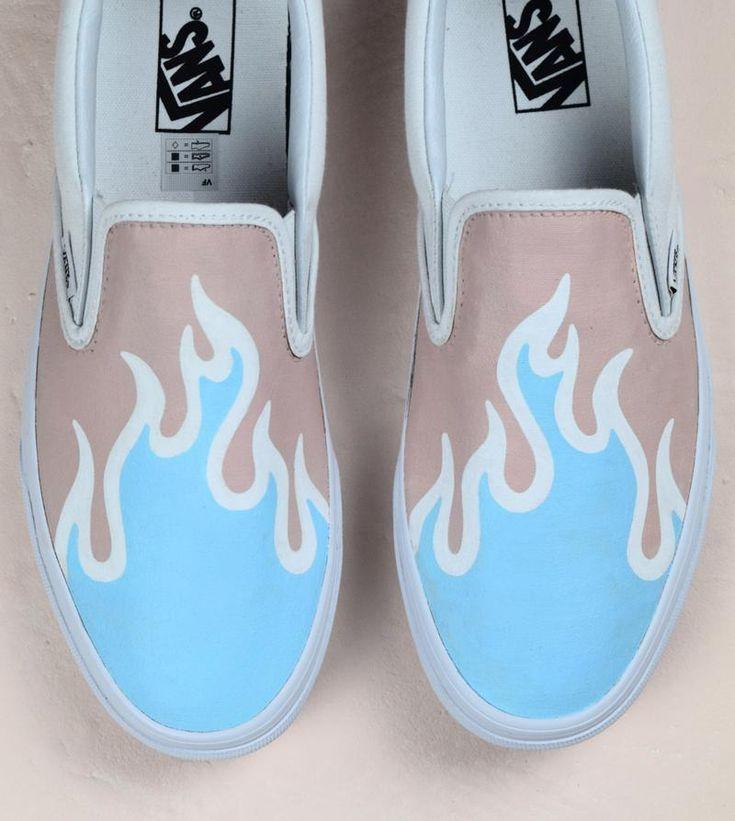 Blue flame vans slip on custom sneakers #custom #flame