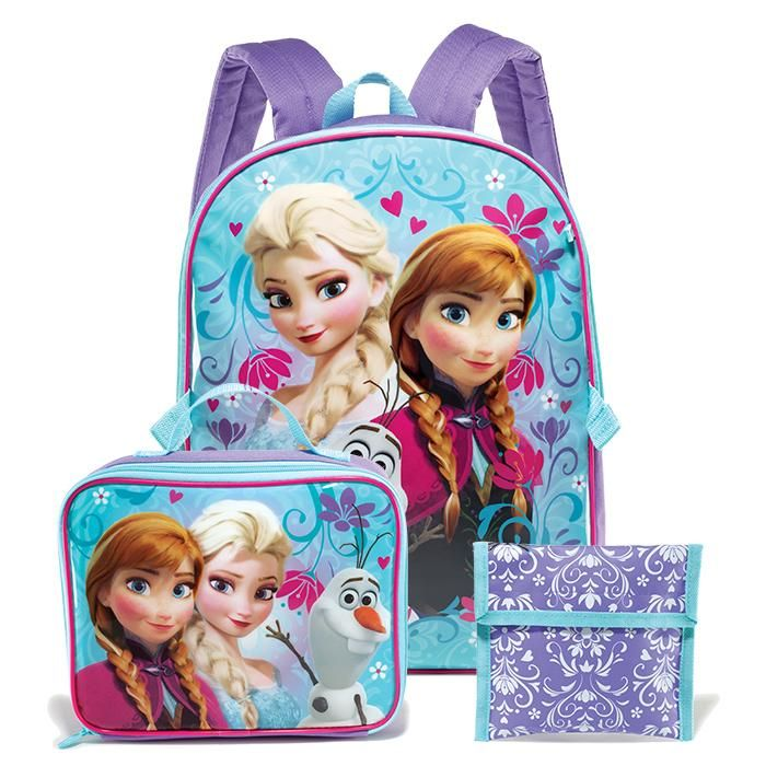 """Este set incluye una mochila de 16"""" x 12"""" x 5"""", una lonchera extraíble de 7 1/4"""" x 9 1/4"""" x 3"""" y una bolsa reutilizable para sándwiches/bocadillos de 6"""" x 6 1/2"""". Para niñas mayores de 5 años. De poliéster y plástico. Importado."""