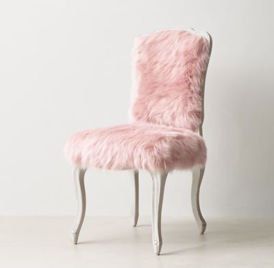 RH TEEN's Sophie Desk Chair :A classic Louis XV silhouette is given an extra dose of glamour when upholstered in faux fur. The comfortable frame features a gracefully carved apron and cabriole legs.