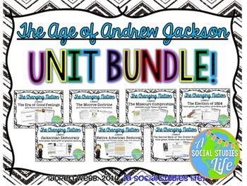 Andrew Jackson UNIT BUNDLE • 12 products including lessons, a review packet, writing assignment, and test!