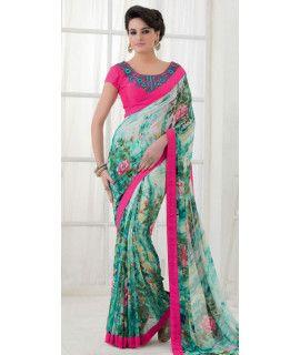 Charming Green Silk Designer Saree With Blouse.