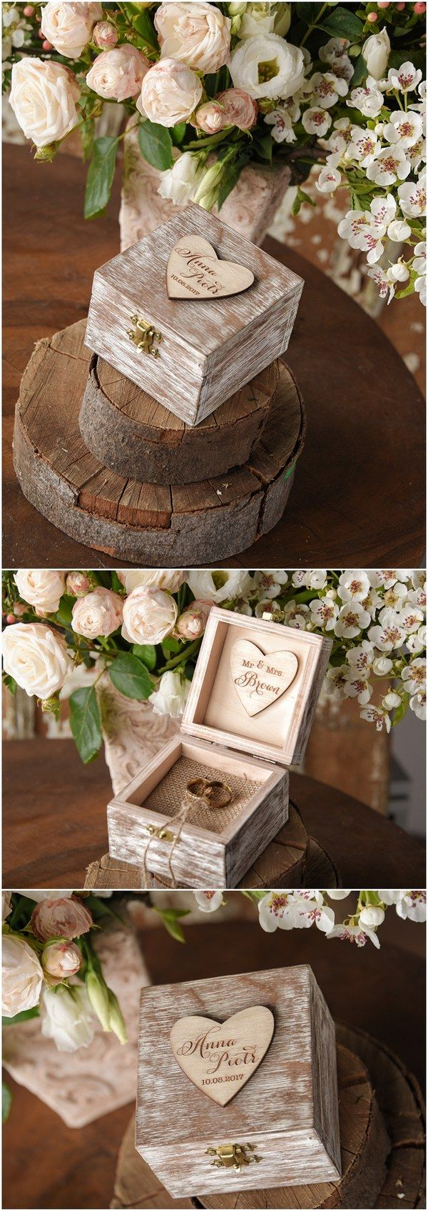 Rustic country wood wedding ring box #rusticwedding #countrywedding #weddingideas