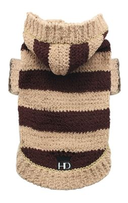 Brown Striped Hoodie Sweater