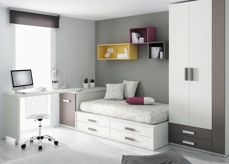 La solución de #espacio de gran #diseño para los #jóvenes . #Dormitorios juveniles para #adolescente de @mueblesros