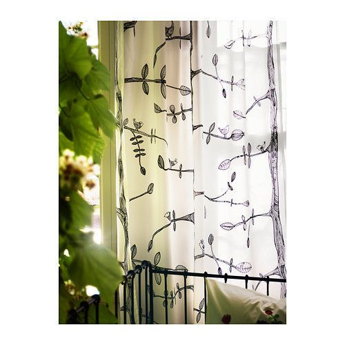 IKEA Eivor Drapes Curtains Black White Birds Trees Leaves Privacy 2 Panels NEW #IKEA #Modern