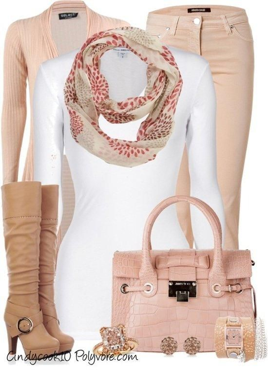 Pale Pink and Nude Accessories and Pants and Shoes With White Top.