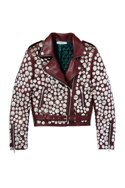 Burgundy Mulberry silver stud-embellished leather jacket with gorgeous emerald lining.