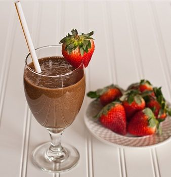 Skinny Shake Recipe (Only 83 Calories!) Ingredients: 3/4 cup unsweetened almond milk, 1/2 tsp vanilla extract, 1-2 Tbsp unsweetened cocoa, 1/2 frozen banana, ice cubes as necessary, cherry or strawberry for garnish