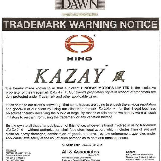 KAZAY - #Trademark Warning Notice published in Daily #Dawn#Karachi  #Hinopak