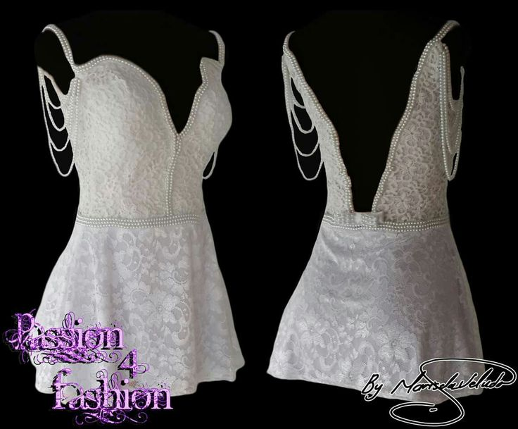 White & ivory lace short evening dress with an illusion pluging neckline and an illusion V back, detailed with pearls and a detachable pearl bow. With pearls hanging from the shoulders.  #mariselaveludo #fashion #eveningwear #lace #passion4fashion #whitelacedress #shortwhitedress