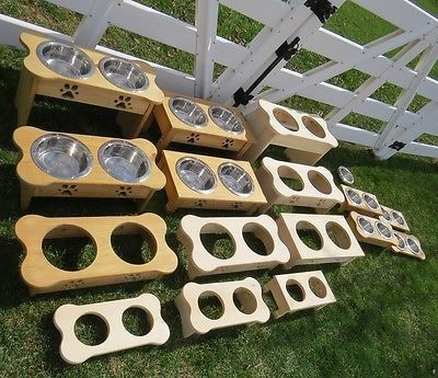 BONE SHAPED or TRADITIONAL WOOD DOG FEEDER Handmade Elevated Stand with Bowls