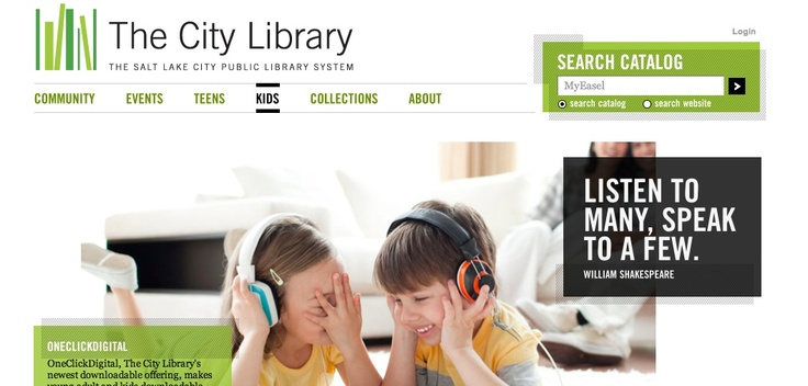 The entire Salt Lake City Library website is amazing. Beautiful design- and user friendly.