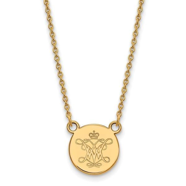 William And Mary Small Disc Pendant is made in the USA of fine quality 14k Gold Plate over Sterling Silver. Let's you wear your team spirit everywhere you go. These items are made to order and ship in about 10 business days. Makes a great addition to your college team jewelry collection.
