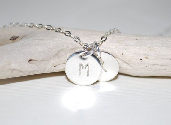 Two initial necklace, initial letter, hand stamped, sterling silver initial, custom necklace, Mothers necklace