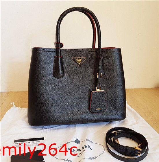 7b0cba6bea Original Prada Saffiano Cuir Double Bag Fuoco Black Leder Tasche  fashion   clothing  shoes
