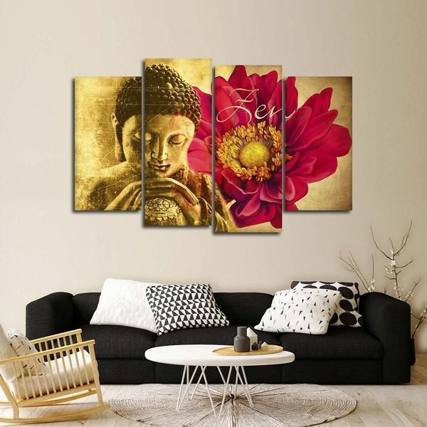 Zen Floral Buddha Multi Panel Canvas Wall Art Zen Wall Art Custom Wall Art Canvas Wall Art