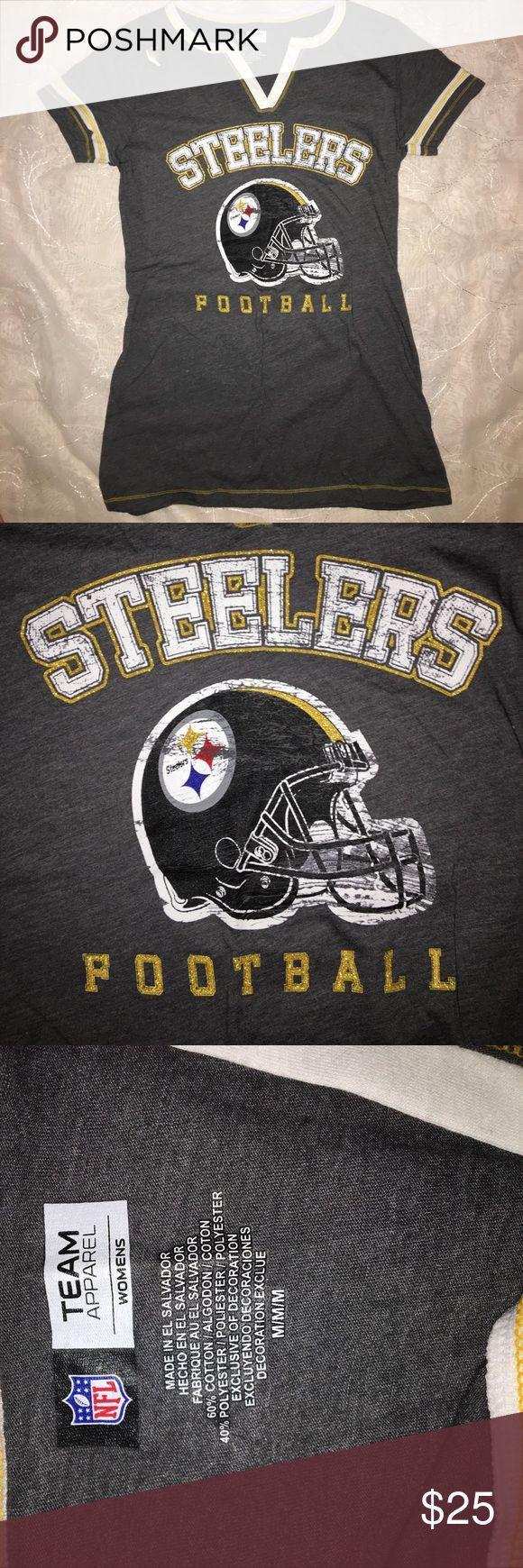 Pittsburgh Steelers T-shirt Grey Pittsburgh Steelers NFL tee shirt Tops Tees - Short Sleeve