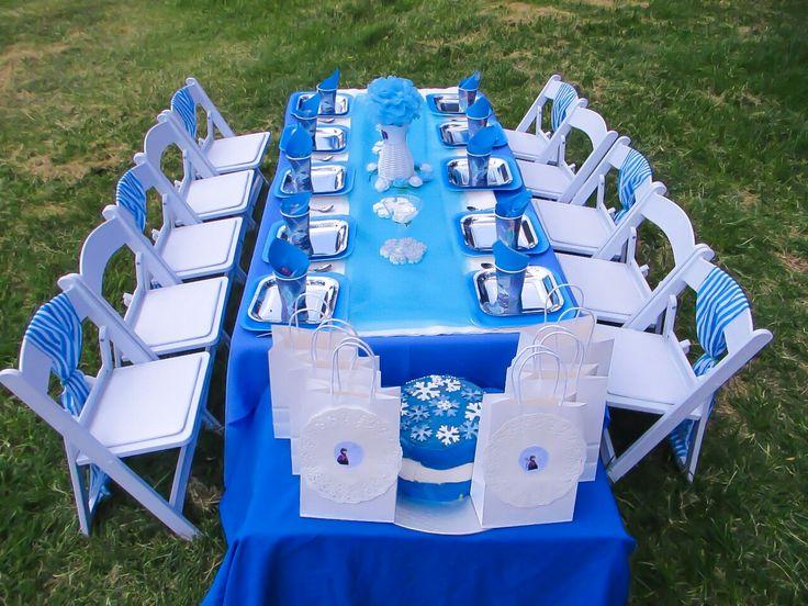 Frozen theme kids party,  silver plates