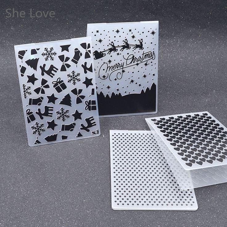 Plástico Carpeta de Grabación En Relieve Para Scrapbooking Álbum de Fotos de BRICOLAJE Tarjeta de Regalo de Christams Corazón Dot Plantilla