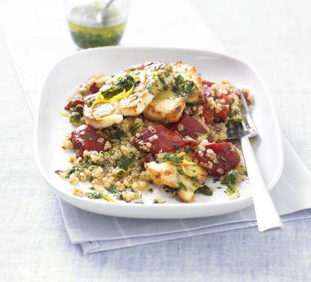 Warm quinoa salad with grilled halloumi just over at 603 cal - could use either reduced fat halloumi cheese or mozzarella and fresh peppers