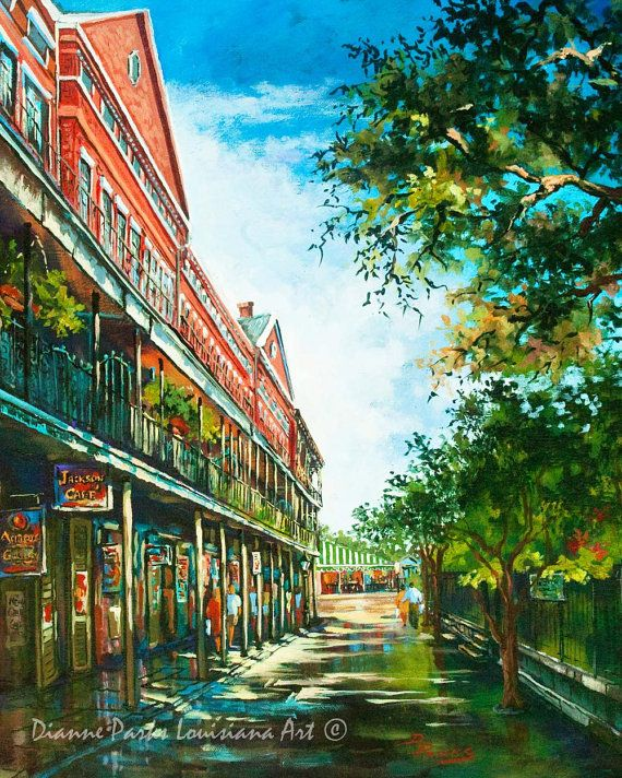 Jackson Square, FREE SHIPPING! Late Afternoon, with Cafe du Monde & Pontabla Apartments, New Orleans Art, Louisiana Art by Dianne Parks Art