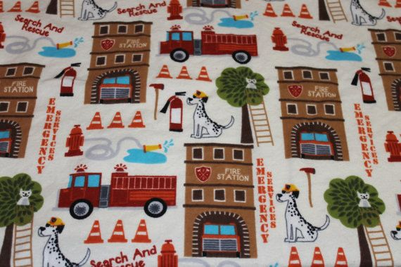 Fire fighter house flannel fabric by the half yard by for Children s flannel fabric by the yard